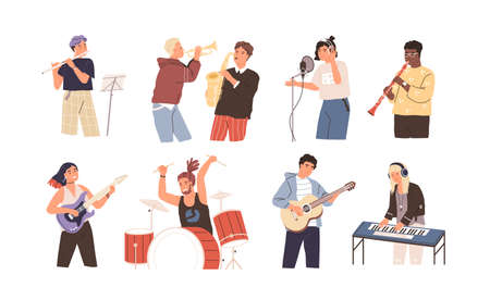 People playing musical instruments vector illustrations set. Young singer recording song with professional equipment cartoon character. Talented musicians, band members performance. Ilustração