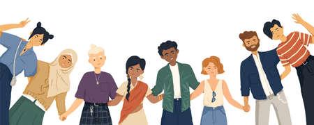 Internationale vriendschap platte vectorillustratie. Jonge diverse mensen groep staan samen stripfiguren. Multi-etnische eenheid en vredesconcept. Diversiteit en sociaal samenhorigheidsidee. Vector Illustratie
