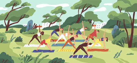Outdoor yoga class flat vector illustration. Young women in sportswear training together in city park cartoon characters. Healthy lifestyle, active recreation. Open air workout, physical exercising. 스톡 콘텐츠 - 134323907