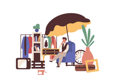 Garage sell vector illustration. Flea market idea. Second hand seller flat character isolated on white background. Used stuff, retro and vintage items. Clothes, technics and interior elements selling.