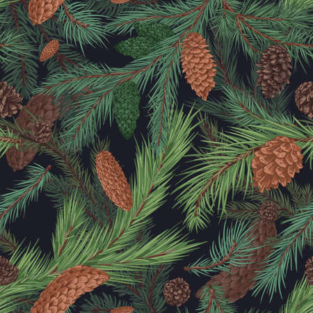 Christmas tree with brown cones hand drawn seamless pattern. Realistic fir branches, green pine. New year decorative print. Floral background. Stylish botanical wallpaper, wrapping paper vector design.