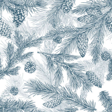 Christmas tree hand drawn seamless pattern. Pine branches with cones texture. Merry christmas monochrome print. Flora, firs. Realistic botanical wallpaper , wrapping paper vector design.