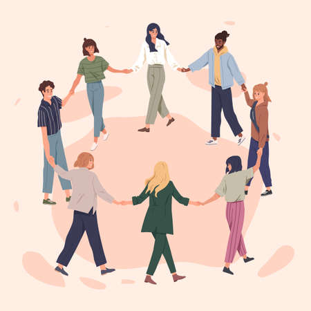 Happy people holding hands together flat vector illustration. Adult men and women standing in circle cartoon characters. Cheerful friends perform round dance. International togetherness concept. 일러스트