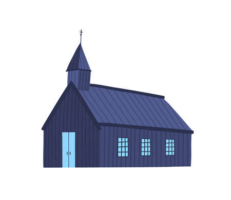 Icelandic church flat vector illustration. Old chapel, wooden plank cathedral. Simple religious building exterior. Antique sanctuary color design element. Ancient kirk isolated on white background.