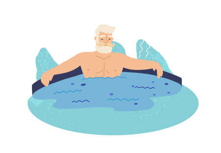 Old man in geyser flat vector illustration. Grandfather lying in water. Elderly tourist cartoon character. Wellness procedure, healthy rest, relax. Hot spring isolated on white background.