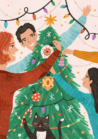 Family celebrating christmas together flat vector illustration. Happy child with mother and father cartoon characters. Winter holiday preparation. People decorate xmas tree with festive ornaments.