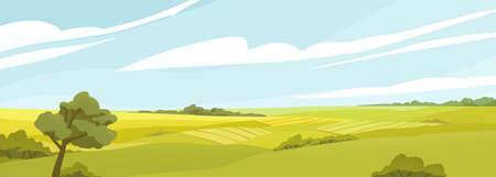 Champs panorama télévision vector illustration. Beau paysage de campagne, paysage rural pittoresque, vue panoramique. Chêne sur clairière, collines verdoyantes sous ciel nuageux. Environnement naturel, nature vivante.
