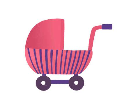 Ilustración de vector plano de buggy de juguete. Juguete de niña, cochecito de muñecas. Cochecito de bebé rosa, vehículo infantil. Accesorio para niños, cuna para cachorros. Cochecito de bebé lindo aislado sobre fondo blanco. Ilustración de vector