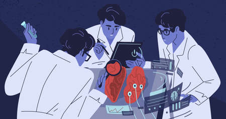 Human brain research flat vector illustration. Group of scientists studying body. Doctors in white coats. Medicine and science concept. Laboratory experiment. Nanotechnology, test, analysis.