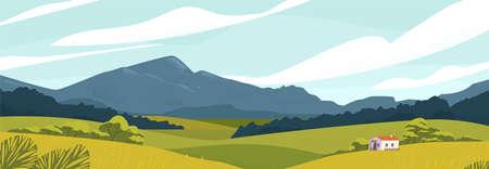 Panoramalandschaft mit Wiesen und Bergen. Haus in der ländlichen Gegend-Vektor-Illustration. Szenische Naturansicht im Freien mit Häuschen in der Landschaft. Idylles Landleben. Grüne Hügel, blauer Himmel. Vektorgrafik