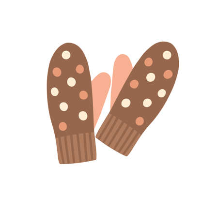 Warm mittens flat vector illustration. Knitted clothing for hands, traditional winter season knitwear. Fashionable handmade gloves isolated on white background. Apparel store, garments shop product. Ilustración de vector