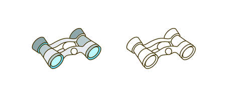 Binoculars vector illustration. Image magnifier, long-range vision device. Look-see, optics, distant sight appliance color design element. Optical instrument isolated on white background.