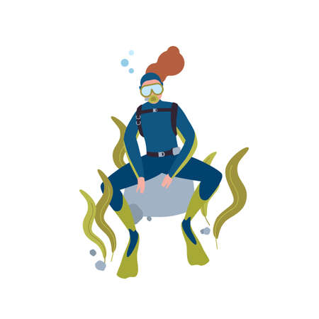 Scuba diving hobby flat vector illustration. Female diver resting at ocean bottom cartoon character. Active recreation, underwater swimming. Tourist with aqualung isolated on white background.