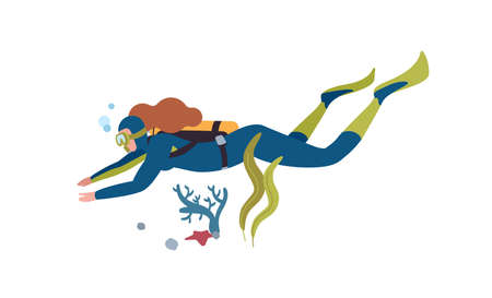 Underwater diving flat vector illustration. Young woman with scuba gear exploring ocean bottom cartoon character. Active recreation, scuba diving. Scuba diver in mask, corals, seaweed and starfish.