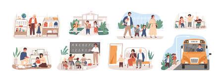 Terug naar school vector illustraties set. Voorbereiding tot Dag van kennis, schoolbenodigdheden kopen, eersteklasser verzamelen. Leerlingen en leraar, ouders en kinderen, stripfiguren van buschauffeurs.
