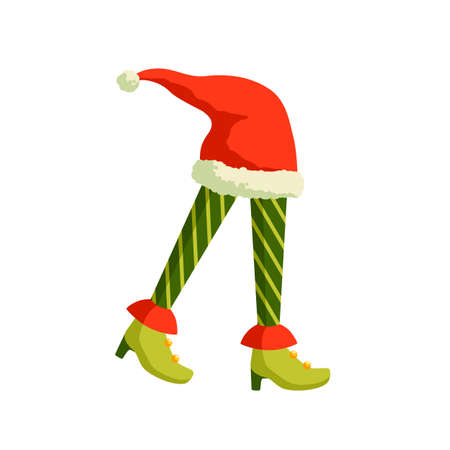 Christmas Elf feet and Santa hat vector illustration. Santa helper, leprechaun cartoon character. Female elfin legs in striped tights and high heel shoes isolated on white background.