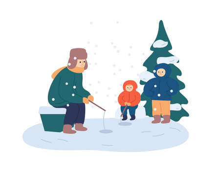 Winter fishing relax flat vector illustration. Father and kids enjoy leisure time together. Dad and sons with fishing rods sitting near ice holes. Wintertime outdoor activities, recreation idea.
