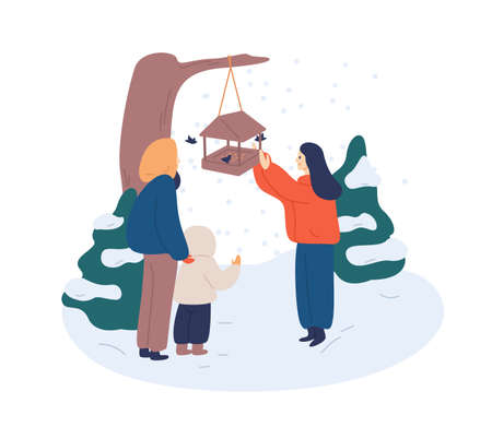 Feeding birds in winter flat vector illustration. Cheerful woman scattering breadcrumbs in feedbox for birdies cartoon character. Mother teaching children love nature, take care of wildlife animals.