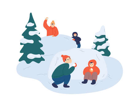 Children playing snowballs vector illustration. Cheerful friends enjoying snowball fight. Cartoon boys and girs hiding behind snowbank. Happy childhood fun. Winter outdoor activity.