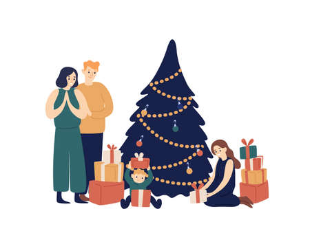 Family and Christmas tree flat vector illustration. Smiling parents and children opening gifts under New Year tree cartoon characters. Winter holiday celebration. Present giving, Xmas tradition.