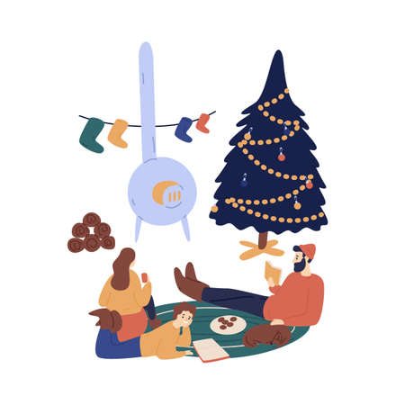 Christmas eve at home vector illustration. Father and kids enjoying winter evening near wood stove, fir tree cartoon characters. Winter season holidays relax, hygge style family pastime.