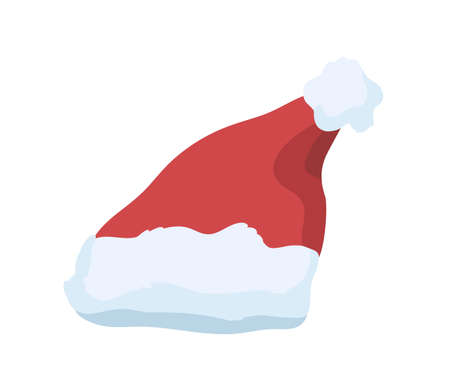 Santa Claus hat vector illustration. Festive christmas celebration costume element. Red plush hat with pompom on top isolated on white background. Warm winter season holiday cap with fluffy fur.