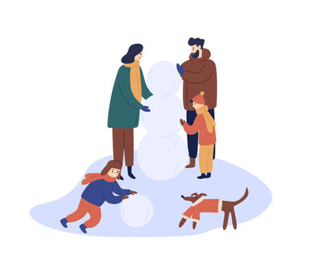 Winter outdoor rest flat vector illustration. Family members in warm clothes, parents and children making snowman cartoon characters. Holiday walk, winter entertainment, seasonal outside activity. Ilustração