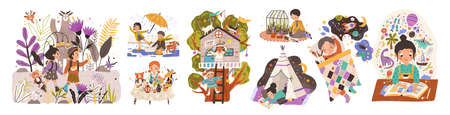 World of childhood flat vector illustrations set. Kids cartoon characters playing games and doing childish activities. Building a shelter, drawing, reading fairy tales. Children dreams and imagination.