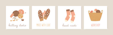 Knitting social media banners vector templates set. Thread skein, knitted accessories, socks and gloves flat illustrations. Hand made, needlework. Knitting studio, workshop advertising design.