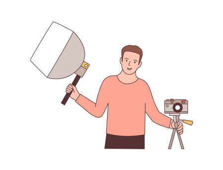 Cameraman with photographic equipment flat vector illustration. Professional photographer holding softbox and mirrorless camera. Photo studio worker cartoon character. Photo session design element
