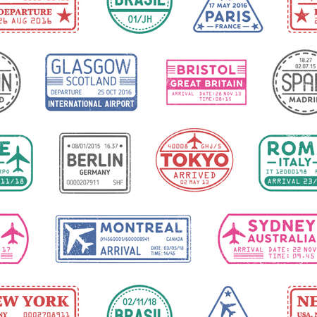 Visa stamps vector seamless pattern. Sydney, Monreal, Tokyo, Berlin colorful stamps backdrop. Inked impressions decorative background. Visited countries and territories, travelling texture.