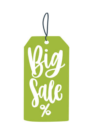 Big sale price tag flat vector illustration. Mega price reduction creative advert idea. Seasonal discounts promo banner design element. Green pricetag with percent sign. Shopping event, sellout ads.