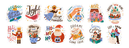 New year lettering compositions set. Colorful festive vector illustrations collection. Merry christmas calligraphy. Seasonal Xmas greetings bundle. Happy holidays. Let it snow typography. Ilustração