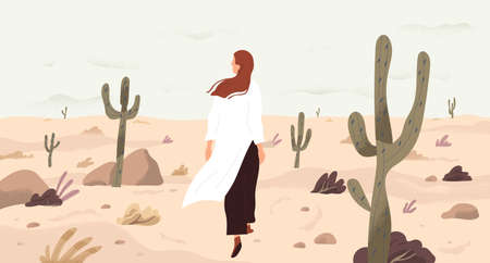 Girl in desert flat vector illustration. Single woman cartoon character. Travelling and outing, discovery and exploration concept. Emptiness and loneliness, opportunity search metaphor. Vector Illustration