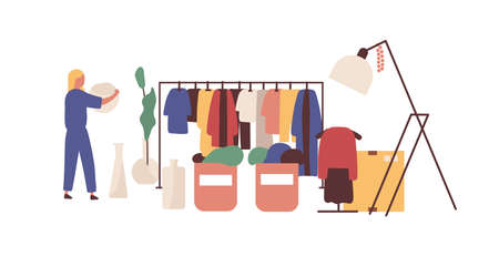 Flea market, clothing bazaar flat vector illustration. Female customer faceless character. Rag fair merchandise selection. Cheap goods, bargain, dress crossing. Swap meet, fashion designers market. Ilustração