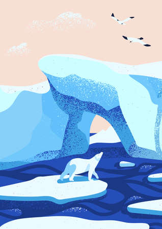 Arctic ice landscape flat vector illustration. Melting glaciers. Iceberg, snow mountains hills, winter nature beauty. Polar bear cartoon character standing on ice floe and looking at birds. Stock Illustratie