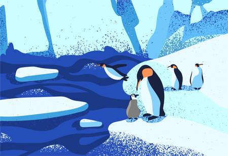 Arctic ice landscape flat vector illustration. Penguins family standing on ice floe. Melting glaciers. Iceberg, snow mountains hills, winter nature beauty. South pole inhabitants cartoon characters.  イラスト・ベクター素材