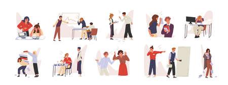 Rudeness in business team vector illustrations set. Bad job, adverse atmosphere, disrespectful attitude towards colleagues concept. Company staff, rude executive and subordinate cartoon characters. Ilustração