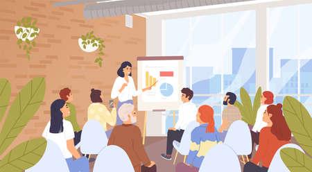 Geschäftsseminar, Konferenzvektorillustration. Personalschulung des Unternehmens, Kurskonzept für die Karriereentwicklung. Business Coach und Vortragshörer, Geschäftsleute Zeichentrickfiguren
