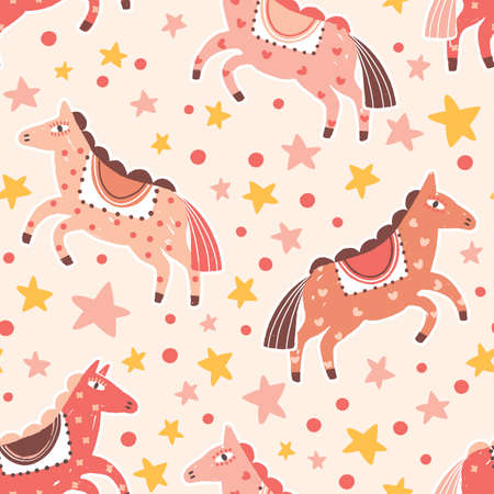 Abstract carnival horses seamless pattern. Magical cartoon ponies colorful childish backdrop. Fairy tale hand drawn cute pink animal with stars and polka dot flat vector background.