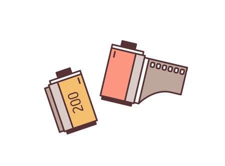35mm filmstrip vector illustration. Photographic equipment colorful design element. Retro photography, cinematography, filmmaking and multimedia. Negative film strip isolated on white background. Ilustração