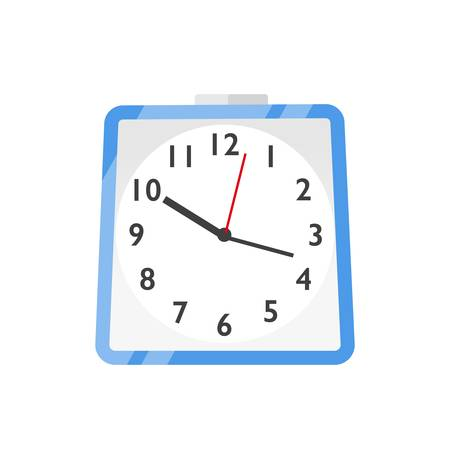 Wall clock, watches flat vector illustration. Scheduling, time management and planning. Hours, minutes and seconds measurement symbol. Blue wall clock icon isolated on white background