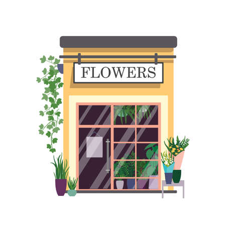 Flower shop flat color vector illustration. Botanical store building facade with signboard isolated on white background. Small kiosk with houseplants and beautiful bouquets at showcase.
