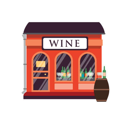 Wine shop flat vector illustration. Alcohol drinks store building facade with signboard isolated on white background. Small kiosk with wine bottles and glasses at showcase. Big wooden barrel.