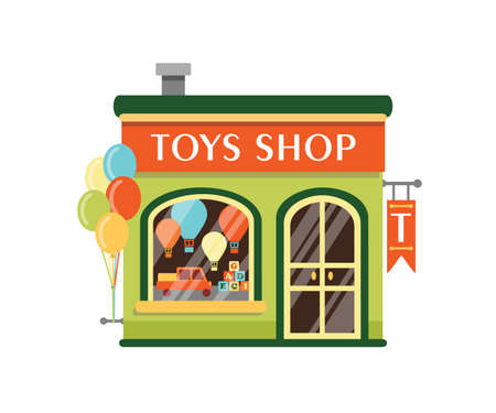 Toys shop flat vector illustration. Kids store building facade with signboard isolated on white background. Goods for children. Small kiosk with wooden cubes, tuck car and air balloons at showcase.