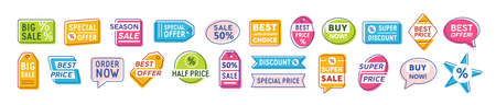 Special offer badges vector set. Best offer, buy now, special price colorful icons collection. Super discount, half price. Marketing labels and stickers isolated on white background pack. Ilustração
