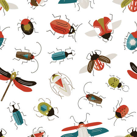 Bugs and beetles vector seamless pattern. Entomology and insects colorful backdrop. Dragonfly, ladybugs, ladybirds and stag-beetle on white background. Wildlife nature textile design. Ilustração