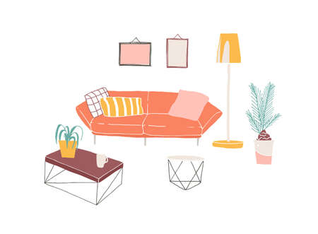 Home interior, furniture pieces hand drawn vector illustration. Trendy living room furniture. Cosy bright sofa with cushions , floor lamp, coffee table and houseplant on white background