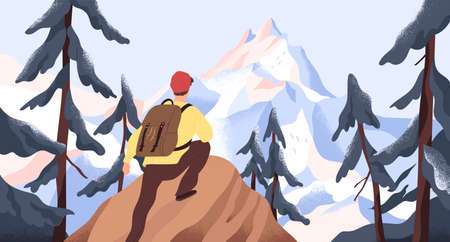 Mountain hiking flat vector illustration. Backpacker exploring wild nature. New horizons and goals concept. Man with backpack conquering peak in forest. Outdoor activity, discovery, exploration