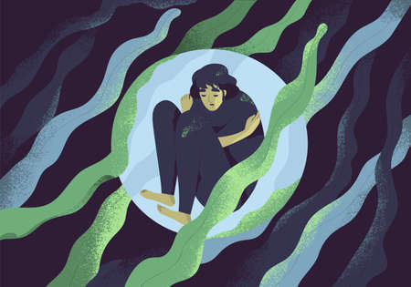 Depressed girl in bubble flat illustration. Lonely person in vacuum. Diffident woman in solitude. Isolation, loneliness concept. Lack of confidence, psychological problem, lostness.